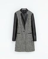 2014 new  women's European style plover Guppy sleeve woolen coat PU stitching leather sleeve jacket