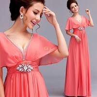 Cii 2014 New Bridal word shoulder pink short-sleeved latest dress engagement latest toast clothing long section