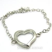 5PCS !! 30mm Silver Heart magnetic glass floating locket bracelet Zinc Alloy Accessory Wholesale fashion bracelet