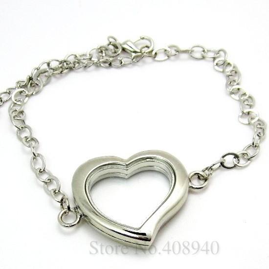 5PCS !! 30mm Silver Heart magnetic glass floating locket bracelet Zinc Alloy Accessory Wholesale fashion bracelet(China (Mainland))