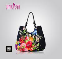 Free HKPOST 2014 Floral handbag Cotton Fabric New fashion package women handbag desigual bag shoulder Messenger Bag 5color