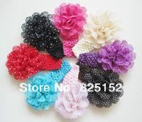 Free Shipping cute Fashion Design 8pcs Baby Girls Toddler Kids Children Chiffon Flower Headband Polka Dot Hair Wear Accessories