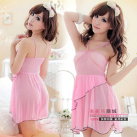 Sexy underwear sexy pants women's uniforms temptation no open-crotch gauze transparent nightgown sleepwear short skirt set