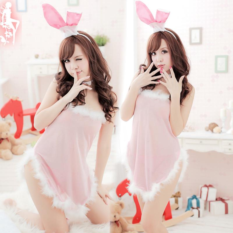 Pink rabbit sexy lady sleepwear women's set temptation transparent bra sex toys plus size lingerie lada erotic skirts womens(China (Mainland))