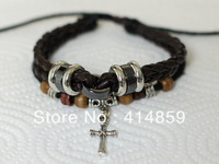 416 Brown leather bracelet Cross bracelet Sacred religious jewelry Men charm bracelet Classical style gift for him and her
