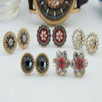 Fashion jewelry rhinestone oil gentlewomen fashion earrings 15 set/lot  stud earrings