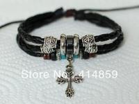417 Black leather bracelet Fashion leather jewelry Classic gift for him and her Men's cross bracelet Handmade charm bracelet