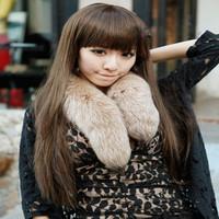 The new female temperament fluffy wig Liu Qi ball head straight hair wig pear head Lace Wigs