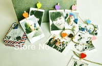 5 set/lot kpop Lomo k-pop Star photo signature card with iron box and heart shape clip  exo Bingbang/snsd/beast/ 2pm etc