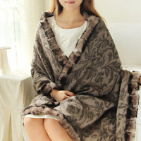 2014 autumn and winter women's pure wool tang grass decorative pattern rabbit fur scarf interspersion elegant thermal cape