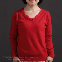 Festive red lace collar solid color diamond intellectuality women's cashmere sweater light