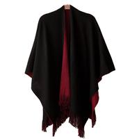 Autumn and winter fashion elegant tassel women's cloak cape scarf