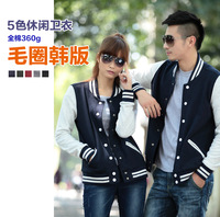 WY105 2014 100% cotton baseball sweatshirt  lovers casual high quality terry outerwear for man, woman, couples, family
