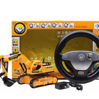 Steering wheel remote control engineering truck toy excavator wireless remote control excavator toy car digging machine