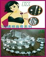 Quality fashion tpu transparent elastic belt rhinestone shoulder strap rhinestone shoulder strap metal shoulder strap customize