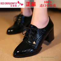 2013 shoes lacing genuine leather thick heel high-heeled shoes low women's shoes autumn women's shoes
