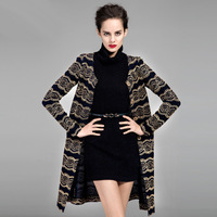 Women's New 2014 Spring O-Neck Long-Sleeve Embroidery Slim fit Fancy Stripe Lace XL XXL Plus Size Trench Outerwear free shipping