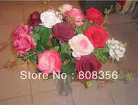12Pcs 55cm Length Artificial Flowers Simulation Flannel Roses Single Rose for Home Decoration Wedding Flower