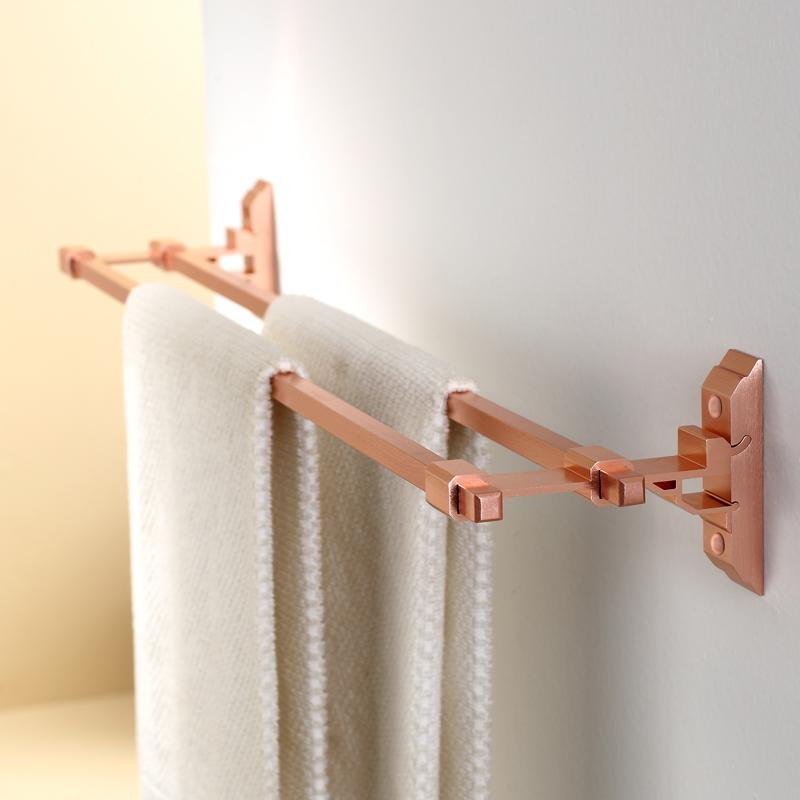 Bathroom single towel rack towel hanging double towel rack space aluminum single parallel bars towel bar(China (Mainland))