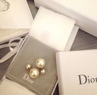 Free Shipping Panpiemras 2013 paragraph double faced pearl stud earring