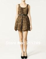 Women's Sexy leopard dress sleeveless vest dress ball gown dress