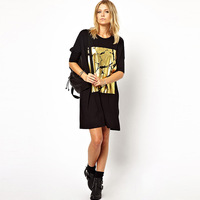 Smss street fashion casual loose black bronzier half sleeve one-piece dress