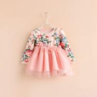 2014 New  Boutique Korean girls sweet lace dress baby girls party dress Children Kids floral tutu dress free shipping
