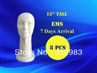 "EMS-8pcs/lot 15"" tall high density-styrofoam mannequin manikin head foam head wig/hat/cap/necklace/microphone display 38cm"