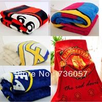 New Arrival!Free shipping football fan snow fox wool big blanket with big european clubs' team logo.football fan gifts/souvenirs