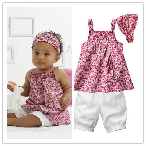 [해외]Baby girl suit/3-piece set: floral print headband+ fl..