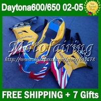 7gift Fairing Kit For yellow blue Triumph Daytona 650 02-05 5#24  02 03 04 05 red white blk Daytona 600 650 2002 2003 2004 2005