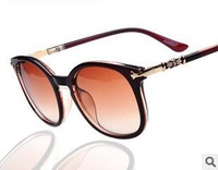 10pcs/lot,2014 Women fashion sunglasses, classic big frame metal black acetate sunglasses,free shipping