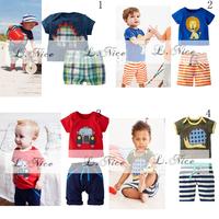 New 2014 ! Childrens Summer Clothing Sets, Baby Boy 2pcs Suit Kids Pants+T-shirt Casual Clothes Set,Boys Clothes Sets