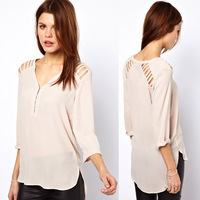 Free Shipping Women's Shirts Cutout V-neck posterization beige wrist-length sleeve chiffon shirt female shirt