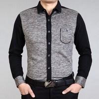 2014 spring SEPTWOLVES men's clothing business casual slim turn-down collar long-sleeved shirt