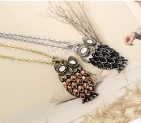 Bronze k016 champagne color owl necklace star accessories female