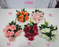 High quality artificial silk flower,wedding Christmas decorations,11 flower corner rose bouquets,5 colors,free shipping