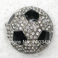 Wholesale 12piece/lot Clear Crystal Rhinestone Enamel Pins Brooch Small Football Brooches Gift jewelry C785