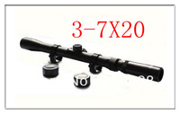 Free Shipping Tactical Air Rifle Gun Telescopic Scope 3-7x20  Mil-Dot Hunting Rifle Scope with Free Mounts