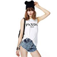 Free shipping women Panda letter print sleeveless o-neck white female slim t-shirt vest lady t shirt