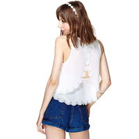 2014 new spring and summer hollow laser engraving lace halter double sewn sleeveless chiffon shirt free shipping