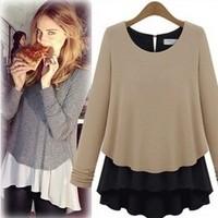 2013 female sweater plus size faux two piece set basic loose chiffon shirt long-sleeve T-shirt female