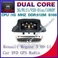 Car DVD for Renault Megane 3 S100 gps navigation radio bluetooth car kit TV USB Wifi 3G 1G CPU Video audio Free shiping 1267S