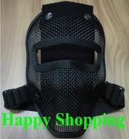 CSA full face airsoft steel metal mesh mask Black
