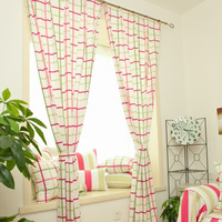 Rustic 100% cotton fabric customize grace pink is green plaid curtain window blind