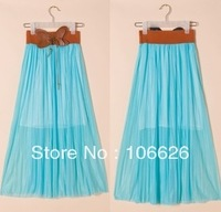 Women summer fashion chiffon pleated solid ankle-length skirts 818