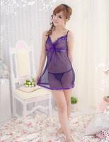 Free Shipping Women Purple Sexy Sleeping Wear Transparent Sexy Sleepwear  (Dress+G-string)