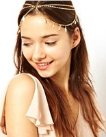 Fashion hair accessory exquisite chain crystal leaves charming 3strands women's headband hair bands acdessories