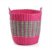 JJJ-SN1456 Round Ears Woven Plastic Rattan Laundry Basket Storage Basket Laundry Basket