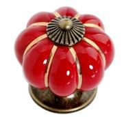 Colorful Pumpkin Cabinet Knobs Ceramic Kirchen Drawer Pulls Furniture Handle (D:40mm,Red)